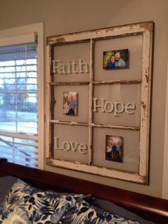 Old 6 pane window....vinyl lettering and favorite photos!