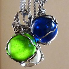 Boho Wire Wrapped Blue Marble Necklace