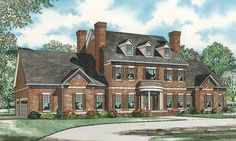 Impressive brick exterior and column entry add to the grandeur of this spacious Colonial House.  Colonial Home Plan # 151868.