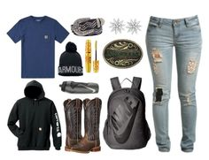 """""""School, Science :(((("""" by im-a-jeans-and-boots-kinda-girl on Polyvore featuring Carhartt, Ariat, Under Armour, Maybelline, BKE, NIKE, Wet Seal, London Road and country"""