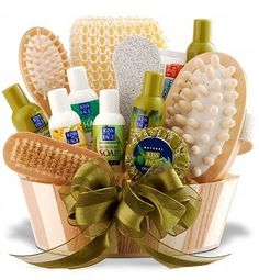 "Luxury Spa Indulgence Gift Basket..something like this could be a great ""new mommy"" basket"""