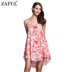 ZAFUL Sexy Women Floral Print Dress Summer Causal Beach Spaghetti Strap High-low Hem Short Women Dresses Red