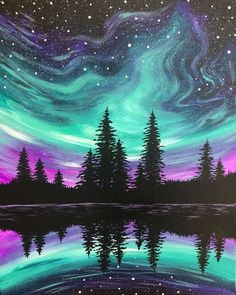 View Paint and Sip Artwork - Pinot's Palette , Night Sky Painting, Light Painting, Painting & Drawing, Night Sky Drawing, Simple Acrylic Paintings, Paint And Sip, Galaxy Art, Pastel Art, Watercolor Art