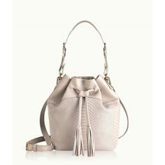 GiGi New York Jenn Bucket Bag Bone Embossed Python ($350) ❤ liked on Polyvore featuring bags, handbags, shoulder bags, leather purse, leather handbags, crossbody shoulder bags, white shoulder bag and white leather purse