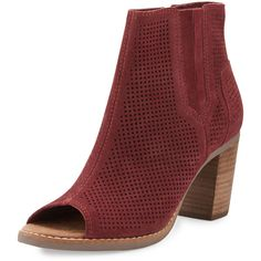 TOMS Majorca Perforated Open-Toe Suede Bootie ($105) ❤ liked on Polyvore featuring shoes, boots, ankle booties, ankle boots, open toe bootie, open toe booties, suede boots and short boots
