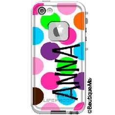 Jumbo Dots Monogrammed LifeProof® frē iPhone 5s Case, Personalized by Boutique Me