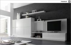 contemporary lacquered TV wall unit CLEVER TWO 50 muebles MESEGUE