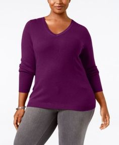 060e2e6f6c2e0 Charter Club Plus Size Cashmere V-Neck Sweater