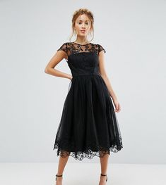 72cab74a7eed9 Chi Chi London Petite Premium Lace Midi Prom Dress with Lace Neck - Bl