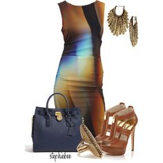 Silk Dress by stephiebees on Polyvore featuring Nicole Miller, MICHAEL Michael Kors and Lucky Brand