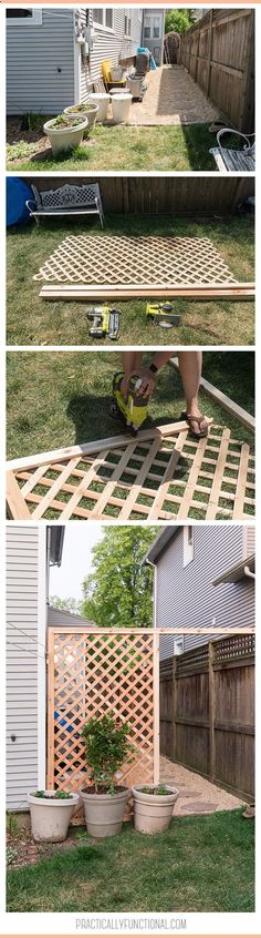 Build a simple DIY trellis screen in a few hours to hide eyesores in your yard! Add a climbing vine and the trellis will be covered in pretty flowers!