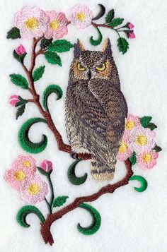 Alberta Great Horned Owl and Wild Rose Medley