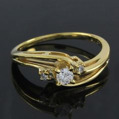 18K Yellow Gold Gp Round Cut VVS Diamond Engagement Ring O965 #findingsnjewelry #Engagement