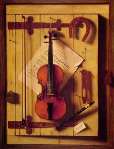 VIOLIN  and MUSIC  (1888). Metropolitan Museum of Art. William Michael Harnett (1848 -1892), fue un pintor estadounidense de origen irlandés, de estilo realista, famoso por sus naturalezas muertas y por su hábil uso del trampantojo. Los trampantojos de Harnett fueron muy imitados, pero no tienen apenas precedentes en Norteamérica. Algunos pintores de los Países Bajos del siglo XVII (como Pieter Claesz., por ejemplo) se especializaron en bodegones en los que conseguían una enorme verosimitud…