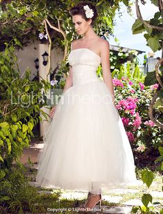 Ball Gown Plus Sizes Wedding Dress - Ivory Ankle-length Strapless Tulle 2015 – $99.99