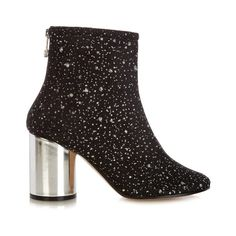 Maison Margiela Glitter-embellished ankle boots (2,365 SAR) ❤ liked on Polyvore featuring shoes, boots, ankle booties, black, black glitter booties, glitter booties, short boots, black ankle booties and black bootie