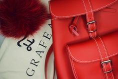Poppy red baby leather backpack by Grafea www.grafea.co.uk