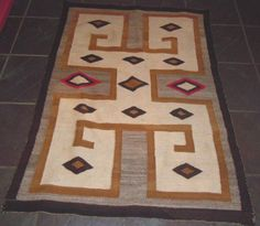Native American two grey hills rug from Ruby Lane