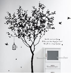 birds and a tree wall graphic