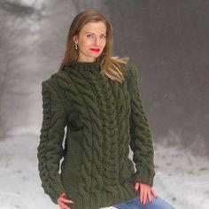 SUPERTANYA Hand Knitted Wool Sweater Cable Knit GREEN Crewneck Handmade Jumper #SuperTanya #Crewneck