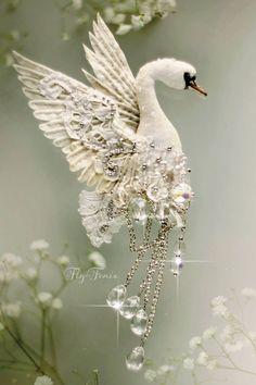 stump work swan... fairytale