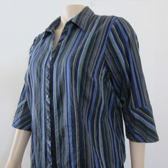 Lane Bryant Womens 3 4 Sleeves Striped Button Down Shirt Top Blue Gray 18 20 4f9217bea