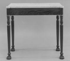 Mesa Vintage Marmol (1810–20) [Caoba, Cobre, EE.UU, HD, Madera, Madera blanda, Marmol, Metal, Pino Blanco]