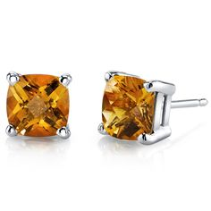 Women's 14k White Gold Cushion Cut Citrine Stud Earrings. BUY NOW AND SAVE! Use Promo Code Pin9175 AND SAVE 15% ON YOUR ENTIRE ORDER!