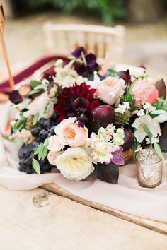 Flowers Centrepiece Decor Masala Burgundy Blush Rose Dahlia Fine Art Bohemian Luxe Wedding Ideas http://jessicadaviesphotography.co.uk/