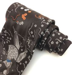 #Vintage #necktie wide neck tie kipper brown art deco #jacquard dancing girl flow,  View more on the LINK: 	http://www.zeppy.io/product/gb/2/232101810471/