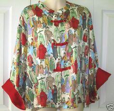 Natori Short Kimono Bed Jacket Robe Asian Oriental Mandarin Collar Frog Close XL