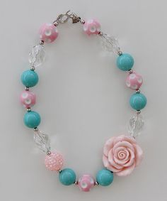 Another great find on #zulily! Pink & Blue Rose Necklace by Under The Hooded Towels #zulilyfinds