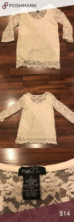Rue 21 Lace Blouse Rue 21 White Lace Blouse. Good condition- worn once. Size:L. Make an offer😊 Rue 21 Tops Blouses