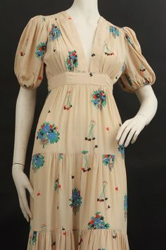 Detail of an Ossie Clark/Celia Birtwell printed chiffon dress (Busby Auctioneers)
