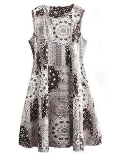 Summer round neck vintage sleeveless printed dress CY-M0301A22