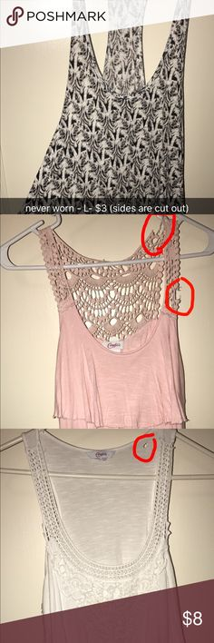 Bundle 1st pic- Aeropostale (never worn) sides are cut out (made that way). Size Large. 2nd pic & 3rd pic- From Kohls tears can't be seen if your hair is down. Goes great under flannels. Aeropostale Tops Tank Tops