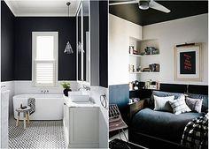banheiro e sala em preto e branco