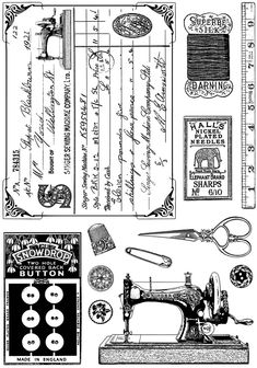 Crafty Individuals Unmounted Rubber Stamp, inch x 7 inch, Sewing Notions, Multicolor Sewing Art, Vintage Sewing Patterns, Sewing Crafts, Sewing Projects, Sewing Hacks, Dress Sewing, Vintage Labels, Vintage Ephemera, Decoupage Vintage
