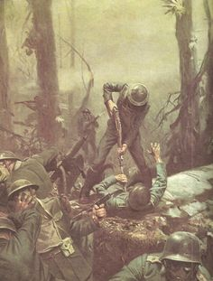 "Tom Lovell, ""Belleau Wood"". Overall, the woods were attacked by the Marines a total of six times before they could successfully expel the Germans. They fought off parts of five divisions of Germans, often reduced to using only their bayonets or fists in hand-to-hand combat."
