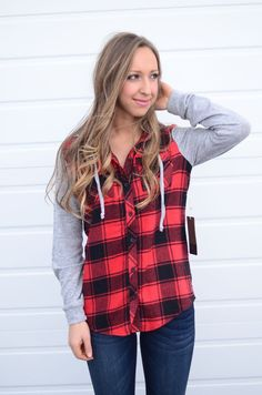 Red Flannel With Heather Grey Sleeves And Hood | Threadlust