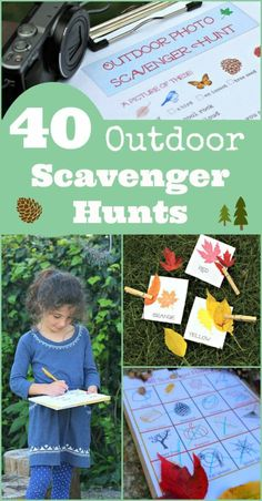 40 Outdoor Scavenger Hunts for Kids with free printables! #fall nature, Halloween and more fun ideas!