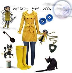 Coraline -- Unlock the Door Outfit Casual Cosplay, Cosplay Outfits, Cosplay Costumes, Diy Costumes, Cosplay Ideas, Costume Ideas, Halloween Make, Halloween Costumes, Inspired Outfits