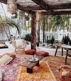 Patio Rugs, Diy Patio, Backyard Patio, Patio Ideas, Patio Plants, Patio Table, Garden Ideas, Diy Table, Bohemian Patio