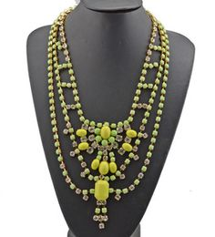$17 lime green and yellow stone bib necklace