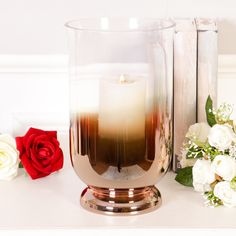 Copper and glass hurricane vase by Dibor