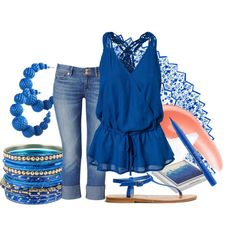 Color Challenge #38/70: Cerulean, created by eiluned on Polyvore