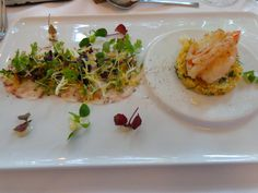A mildly smoked king prawn on cous cous salad with pulpo carpaccio and lemon cream @ Restaurant Medici