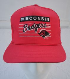 23840343f823f Vintage Wisconsin Badgers Trucker Hat Mesh Snapback Red Front Row Clark  Sportswear Licensed Collegiate Products 80s 90s University Madison