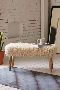 Shaggy Ottoman - Urban Outfitters