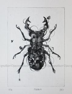 Stagbeetle  original contemporary black and by JacoPutkerPrints